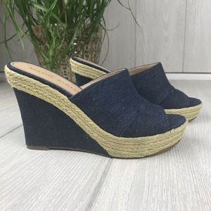 Marc Fisher denim espadrilles wedge shoes